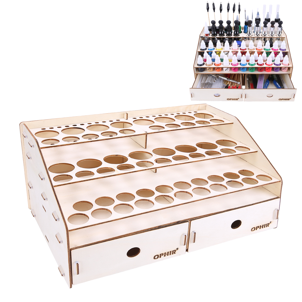 OPHIR 80 Holes Paints Rack Organizer Brushes Tool Storage Holder Painting Tool DIY Wood Paints Bottle
