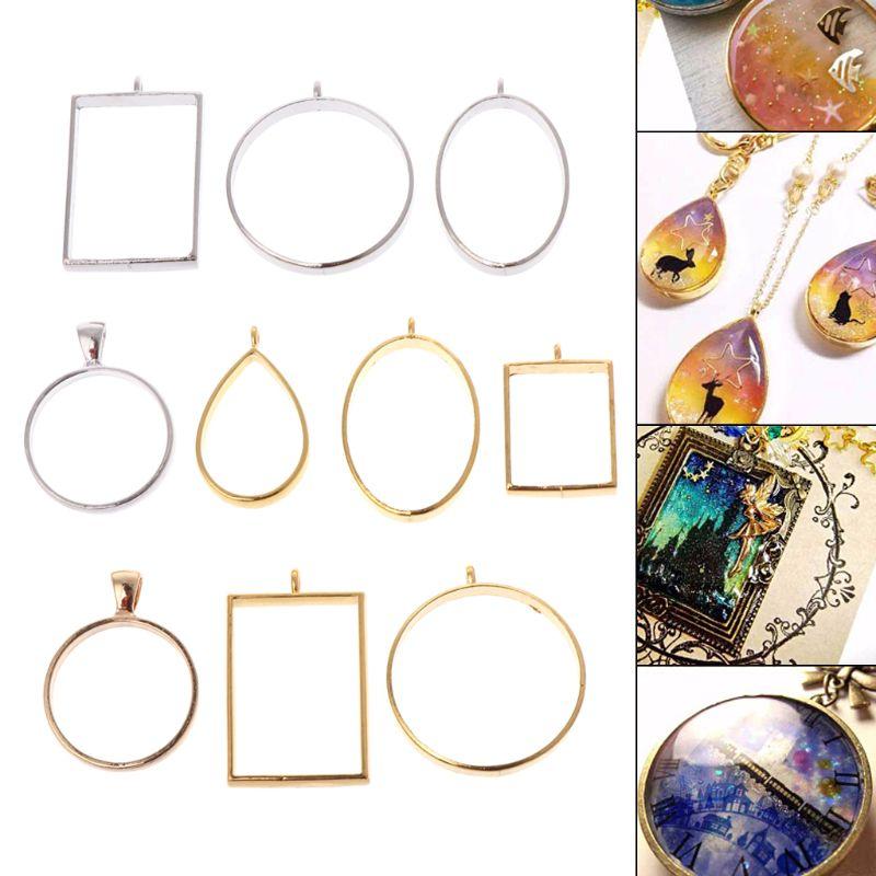 10 Pcs/Set Geometric Frame Hollow DIY Epoxy Resin Crafts Metal Frames Jewelry Making Necklace Pendant Charms Holder UV Resin Rou