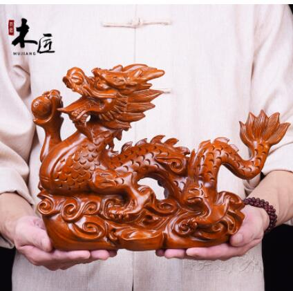 Yellow rosewood pear Real wood dragon Black sandalwood carving zodiac dragon solid wood signs Handmade sculpture