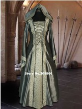 Gergours Silver Ladies Deluxe Quality Medieval Renaissance Hooded Costume/Cosplay Dress/Victorian Dress/Stage Costume