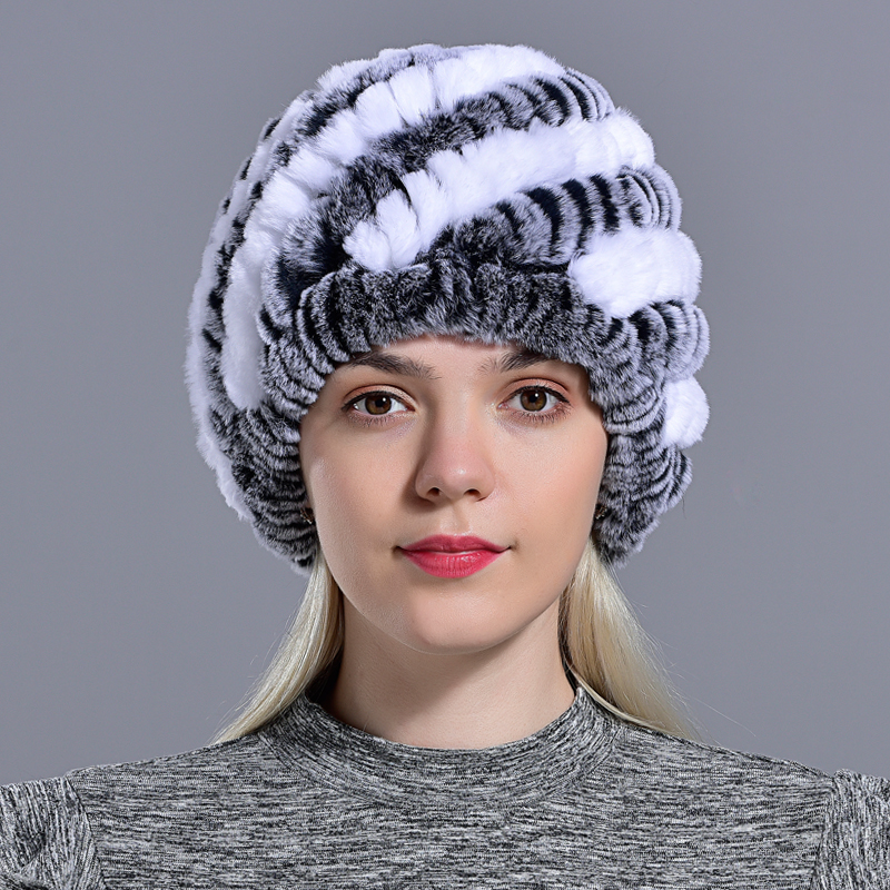 Raglaido Rabbit winter fur hat for Women Russian Real Fur Knitted Cap headgea Winter Warm Beanie Hats 2019 fashion brand LQ11279 34