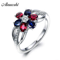 AINUOSHI Flower Multicolor 3.5ct Oval Red Blue Cocktail Ring 925 Sterling Silver Engagement Anniversary Ring Romantic Girls Gift