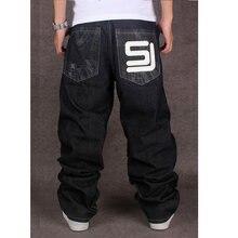 1f2d366e7ec 2017 Для мужчин черный мешковатые джинсы хип-хоп Дизайнер CHOLYL бренд  скейтборд брюки свободные Стиль правда HipHop джинсы в ст.