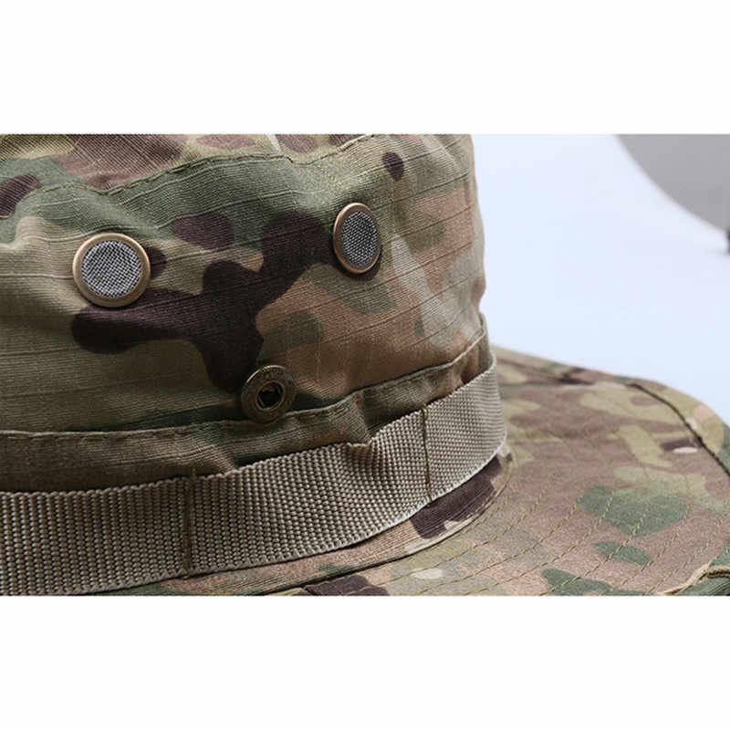 366da96055c ... Tactical Army Camouflage Bucket Cap Men Camo Wide-brim Snapback Boonie  Hat Summer Breathable Sniper