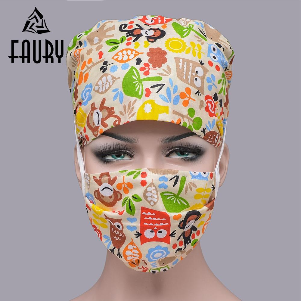NEW 2018 Unisex Medical Clothing Women Medical Beauty Cap Man Doctor Nurses Printing Scrub Cap Mask Medical Surgical Surgery Hat