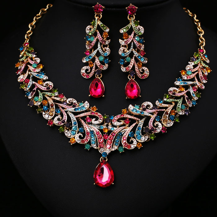 Multi Crystal Rhinestone Bridal Jewelry Set African ...