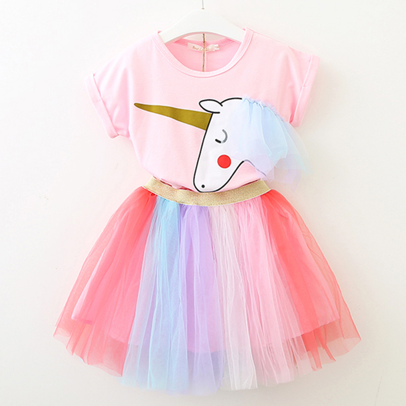Children Dress 2018 New Summer Style Girls Animals Pattern Unicorn Clothes Mesh Mini Dress For Baby Girls Clothing Cute Dresses