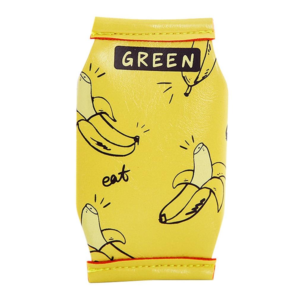 Cute Coin Purse Box Shaped Fashion PU Leather Coin Purses Kawaii Kids Wallet Banana Printed Purse Monederos Infantiles #121 creative cross shaped pu leather folding wallet black