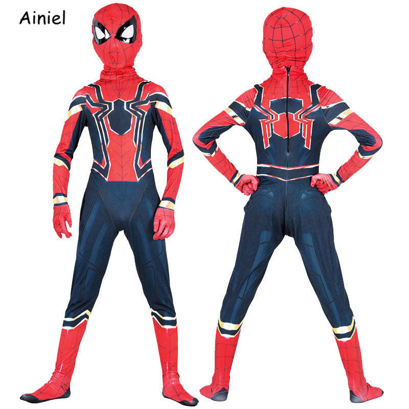 Ainiel Iron Spider Man Cosplay Costume Spiderman Homecoming Zentai Superhero Bodysuit Jumpsuit Mask Halloween Party Kids Boy Man