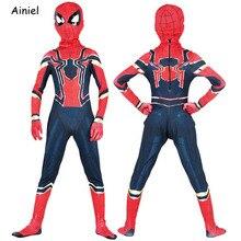 Ainiel Fer Spider Man Cosplay Costume Spiderman Homecoming Zentai  Super-Héros Body Salopette Masque Halloween Party Enfants Garç. 123152e7cdc