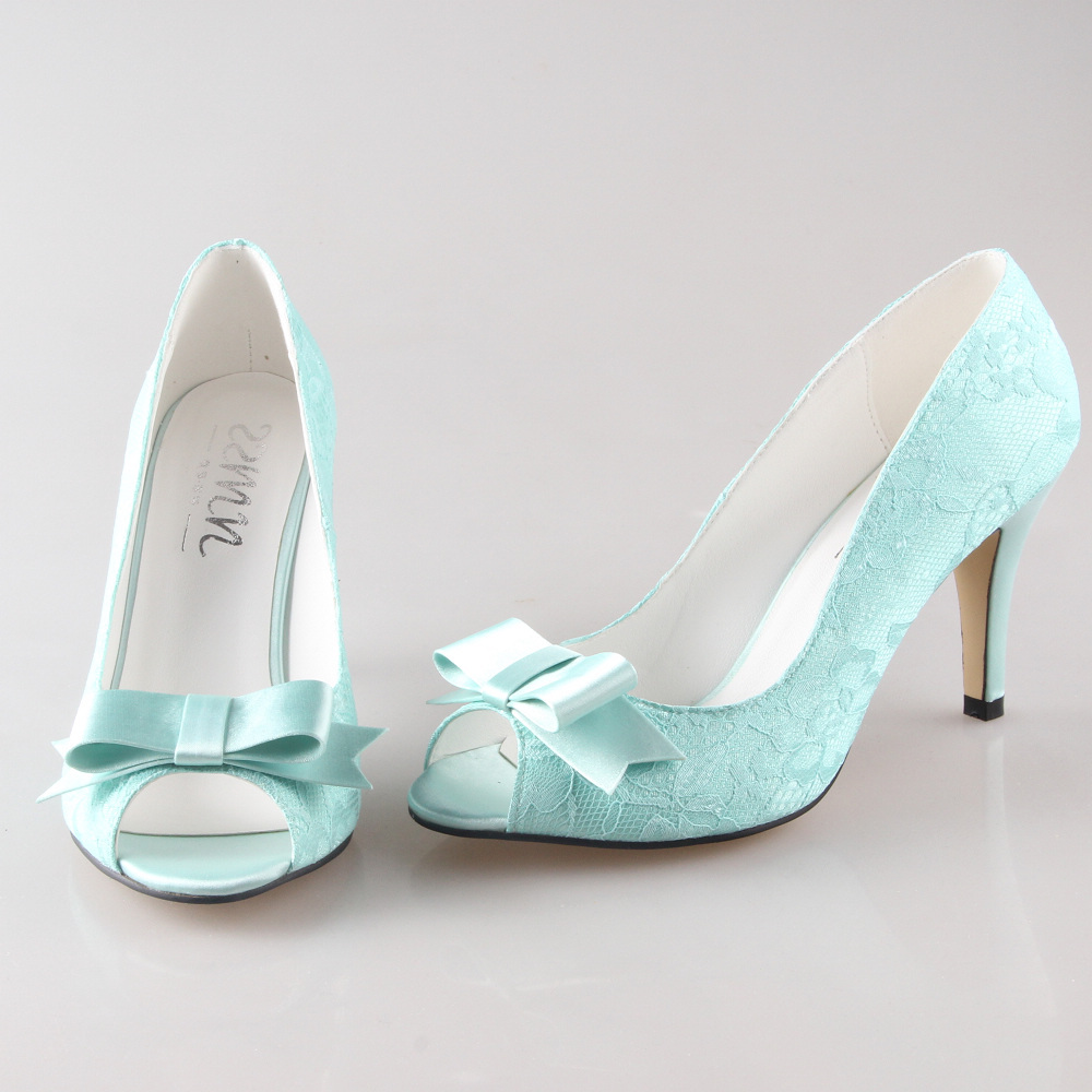 Creativesugar Handmade peachy nude mint green lace bow heels pumps ...