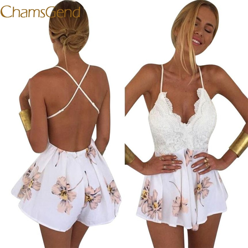 2017 New Durable Fashion bodysuit Women Lace Printing V Neck Strap Sleeveless Jumpsuit Rompers Playsuit bodysuit women #42