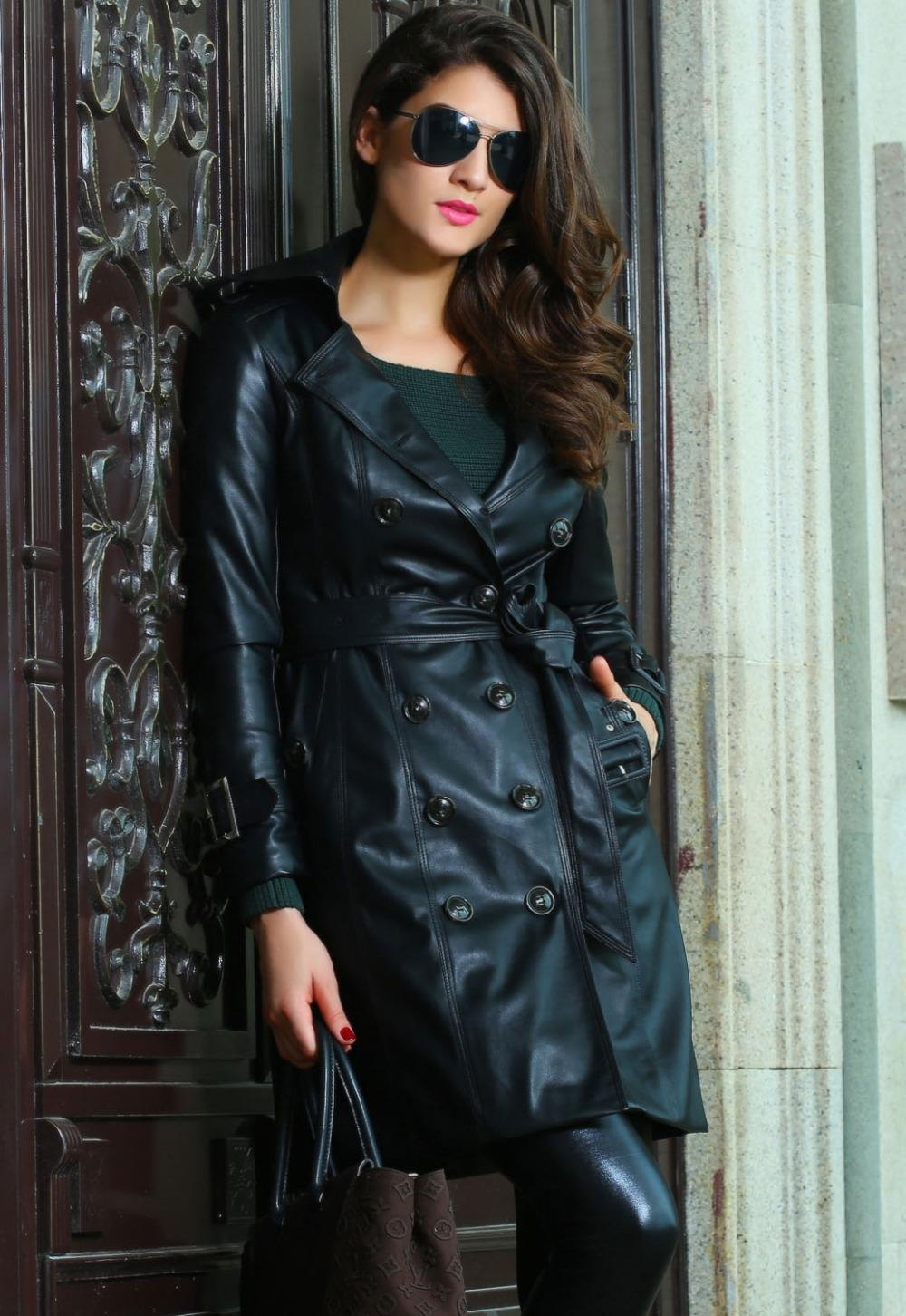 Popular Black Leather Trench Coat Women-Buy Cheap Black Leather