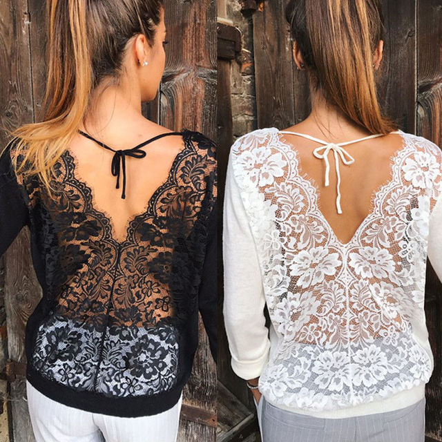 2017 Brand New Sexy Women's Longsleeve Loose Lace Back Casual Shirt Autumn Tops T-Shirt Fashion Women Clothes