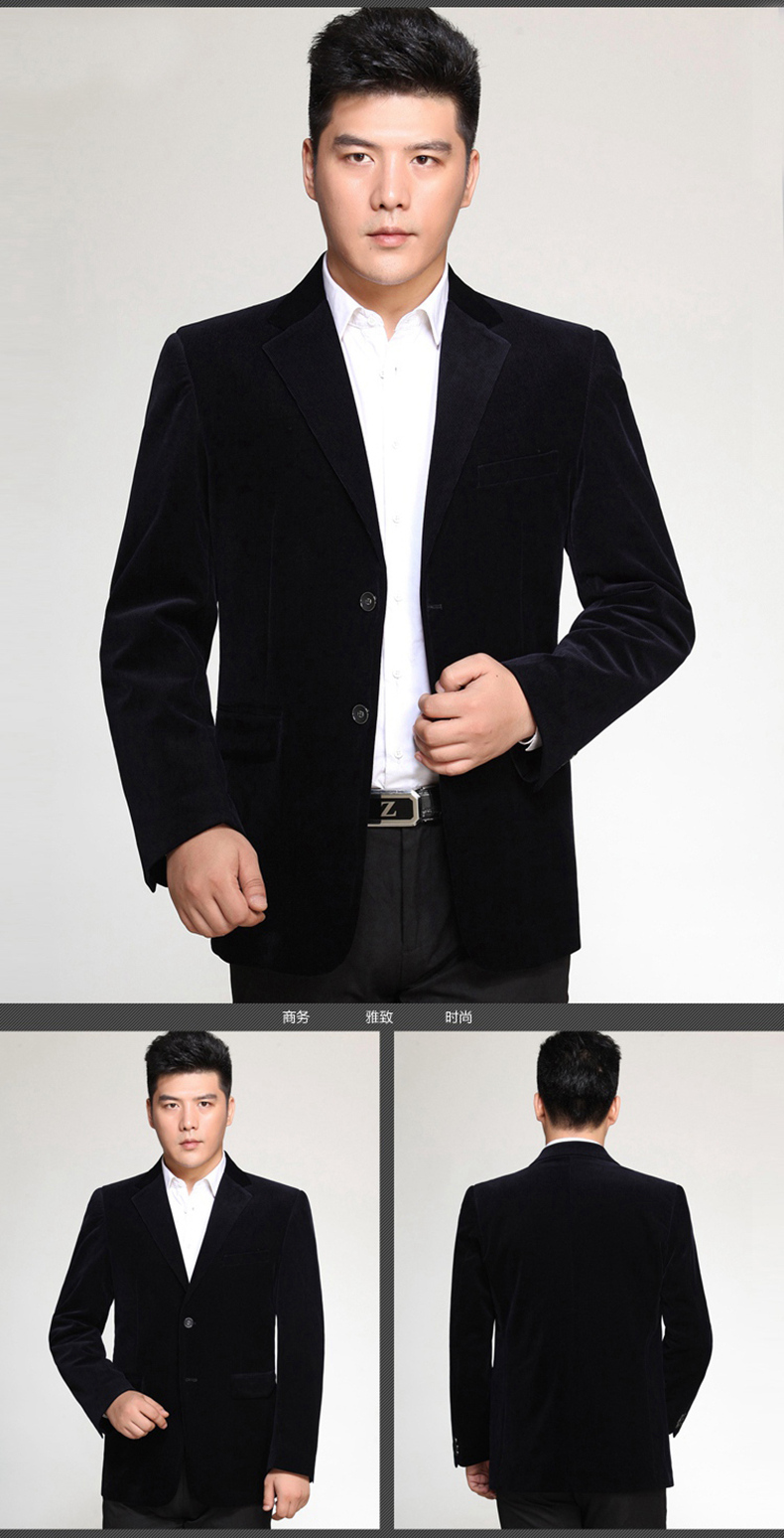 WAEOLSA Men Striped Velvet Blazers Elegant Plain Color Suit Coats Man Wool Blazer Hombre Corduroy Suit Jackets Red Navy Blue Uniform (8)