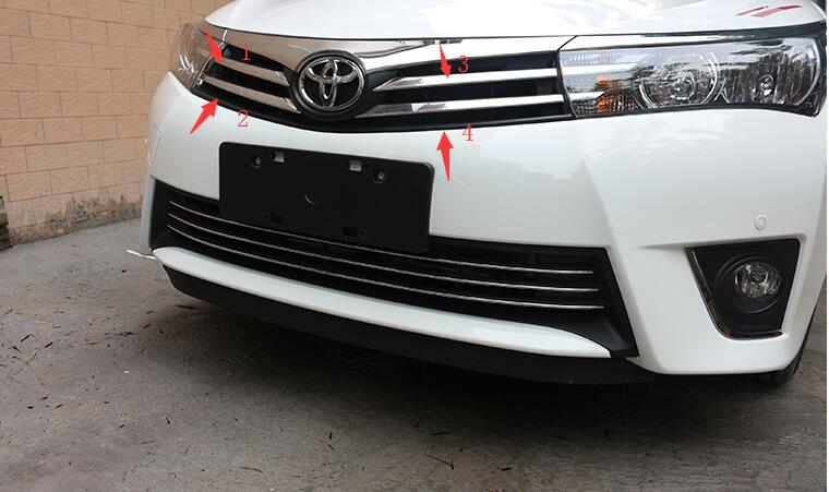 Car Front Grille Cover  Auto Grille Decoration Cover For Toyota Corolla 2014,ABS Chrome,4pc/lot,car Styling