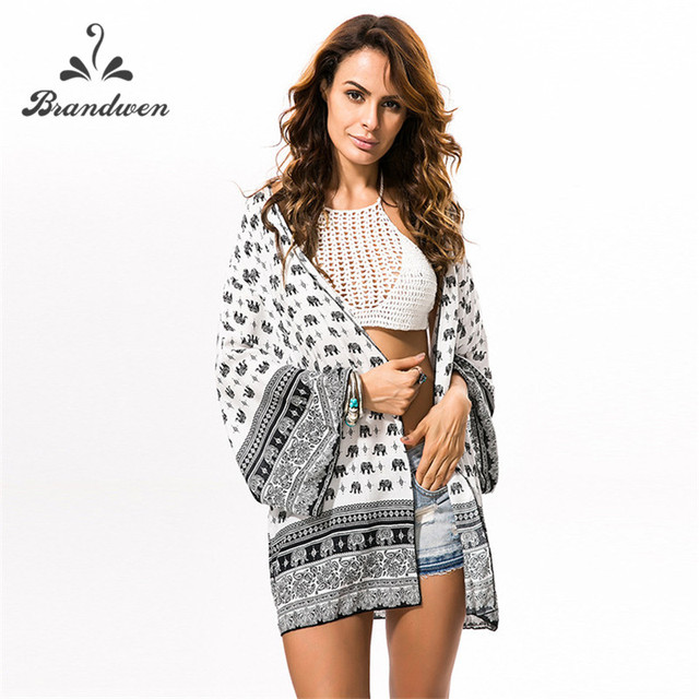 Brandwen Chiffon Shirts Blouses Women 2018 Summer Kimono Cardigan ...