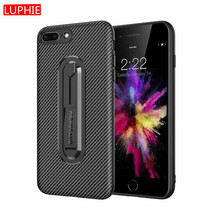 все цены на LUPHIE Carbon Fiber Case TPU case Armor Shockproof Mobile Phone Case for iPhone XS MAX XR X 8 7 6s 6Plus 5 SE 5S Kickstand Cover онлайн
