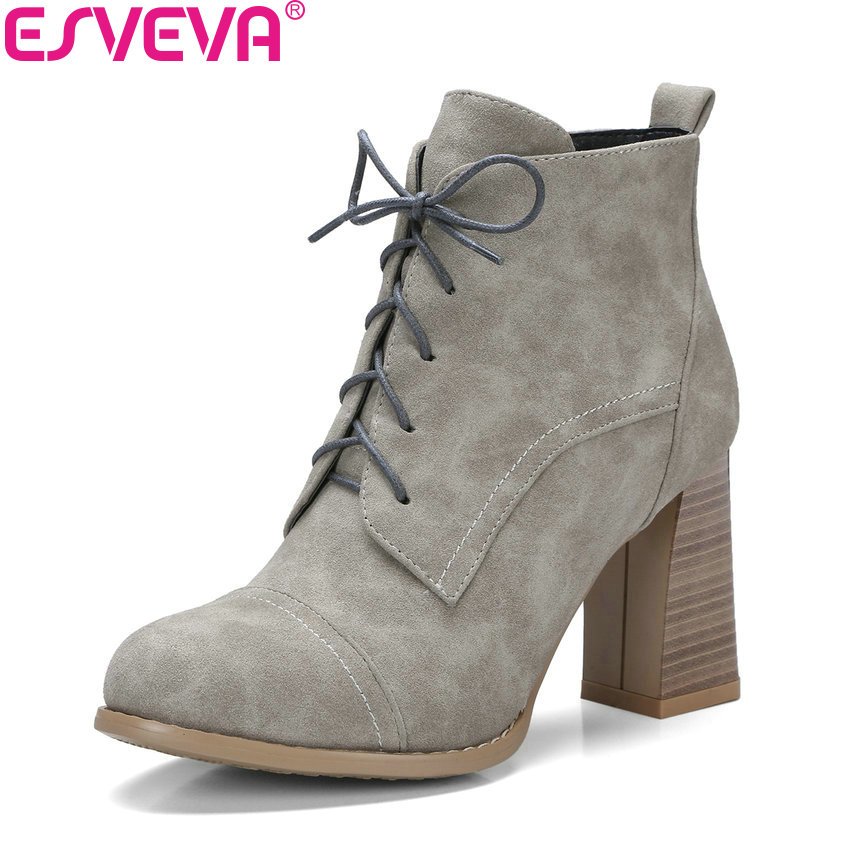 ESVEVA 2018 Women Boots Elegant Square High Heel Ankle Boots Short Plush Zippers Out Door Western Style Ladies Boots Size 34-42 esveva 2018 women boots zippers black short plush pu lining pointed toe square high heels ankle boots ladies shoes size 34 39