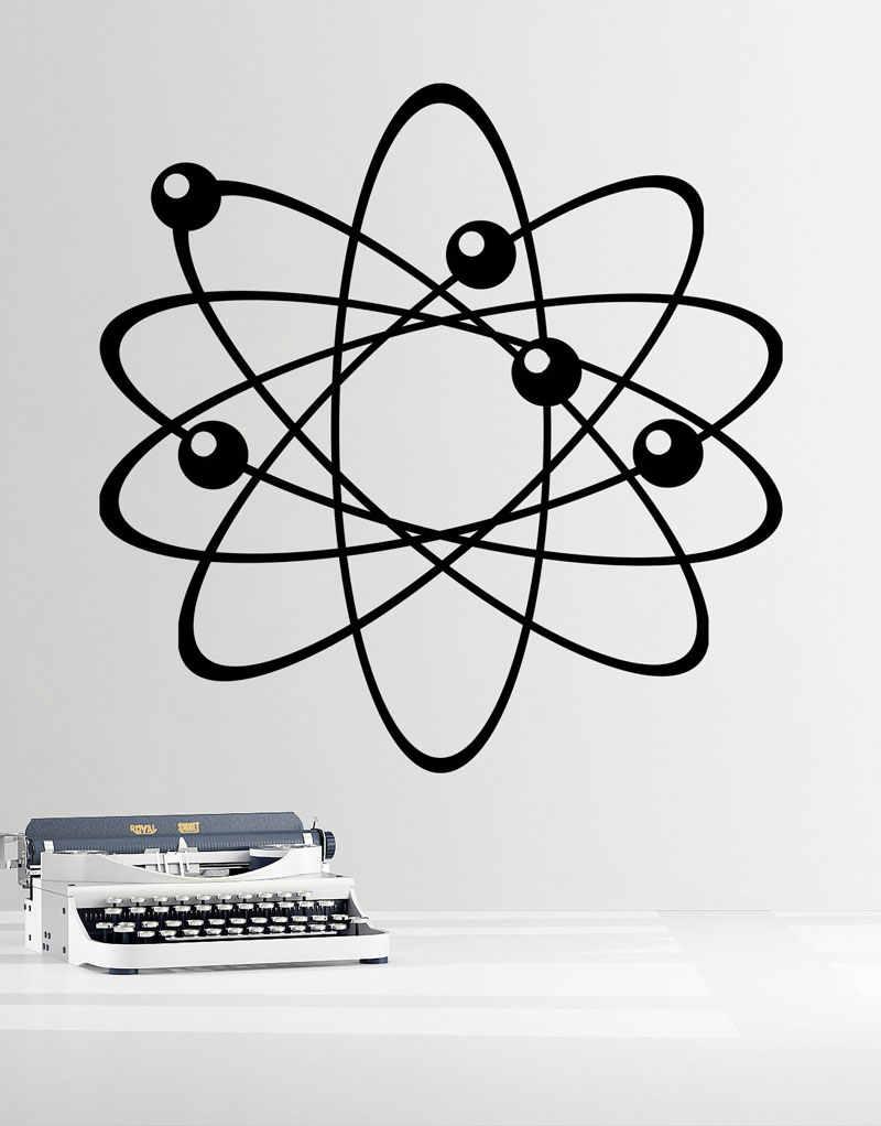 Parede de vinil applique átomos, os elétrons, prótons e nêutrons. Ciência de laboratório perfeito decorado moda parede stickersKX18