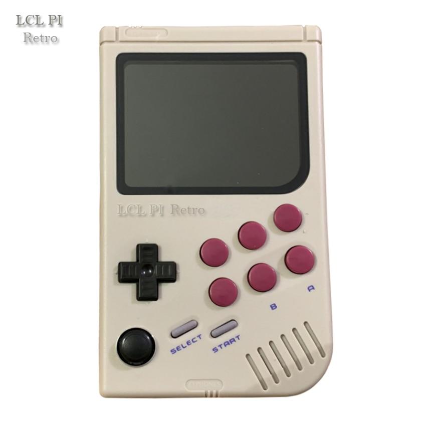 Lcl pi retro raspberry pi para gameboy handheld game console com super ips/choque joystick/menino pi 3b/b + 64g cor clássica