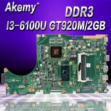 Akemy X756UJ Laptop motherboard for ASUS X756UWK X756UX X756UJ X756UB X756UV mainboard I3 6100U GT920M 2GB