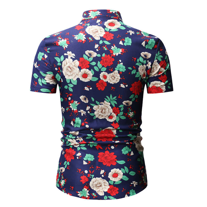 Мужская Гавайский тропический рубашка 2019 Новая повседневная рубашка с цветочным принтом на пуговицах с коротким рукавом мужская пляжная рубашка Foral Masculina 3XL