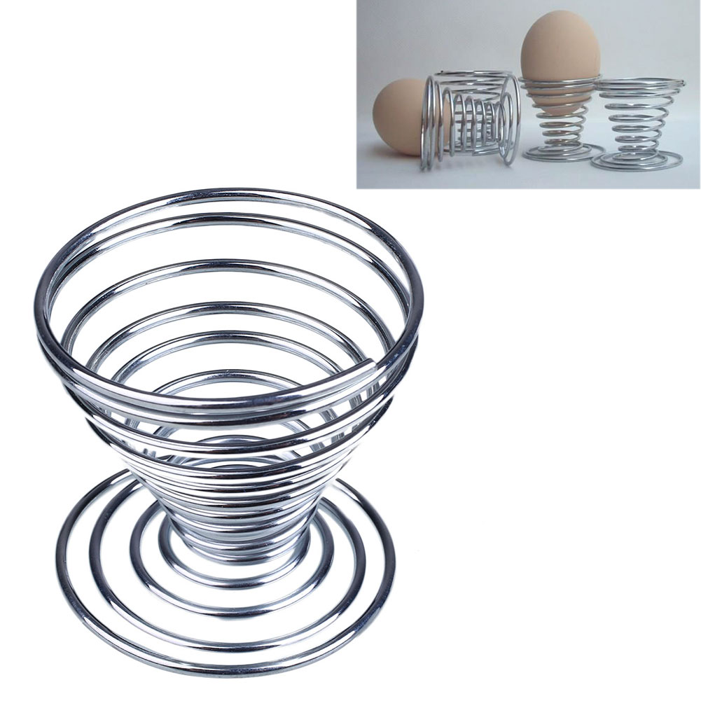 ⑥Stainless Steel Spring Wire Boiled Egg Holder Tray Useful Lovely ...