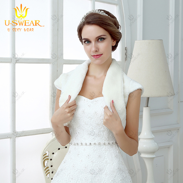Bridal Lace Bolero Jacket White Faux Fur Coat For Wedding Satin Jackets