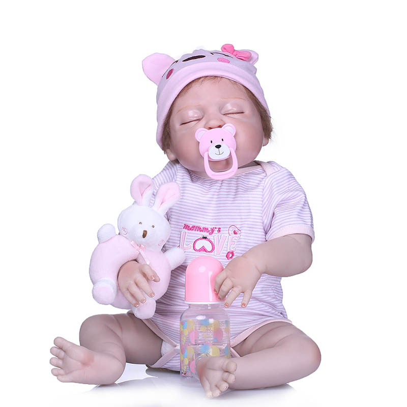 2018 New 56CM Reborn Doll Full Body Silicone Baby 3D Lifelike Jointed Newborn Toy Photography Props all copper ceiling lights balcony aisle lights study bedroom lights porch dining room lamp modern simple european style lamps