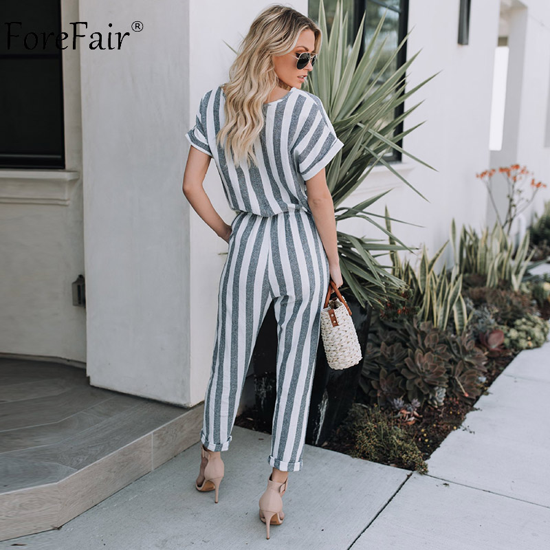 Forefair O Neck Striped Short Sleeve Jumpsuit Rompers Women Summer Casual High Waist Long Haren Pants Pockets Ankle Length