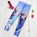 NEW 1017 Cute Kids Children Girl Cartoon Snow Snowflake Anna Elsa princess 3D print Workout Elastic Fitness Leggings Pants
