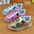 Spring and Autumn of 2017 sequins flash LED light-emitting boys and girls sports kids lighting shoes glowing sneakers kids sneak