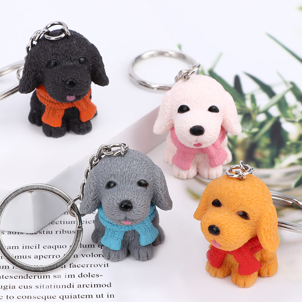 Lovely Resin Scarf Mini Dog Animal Shape Toy Key Ring Key Holder Fashion Jewelry Cute Toy Gifts For Kids