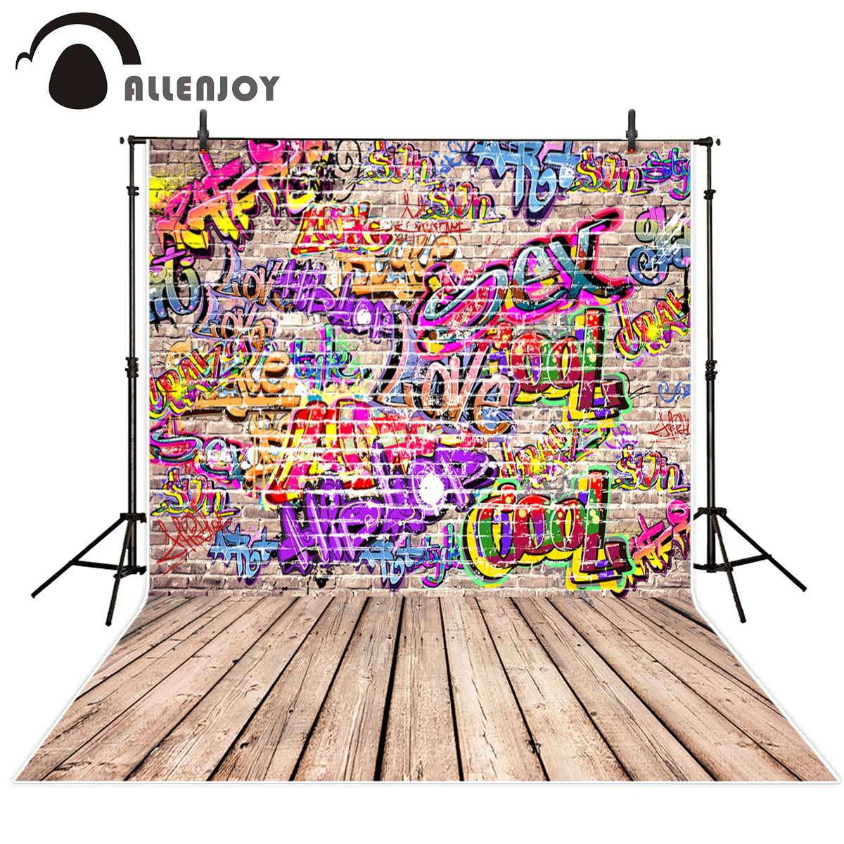 Allenjoy photography backdrops graffiti Brick wall colorful cool wood floor background for photographic studio Backgrounds kate wood photography photography white brick wall backdrops gray wood floor baby backgrounds for photo shoot print cm 5674