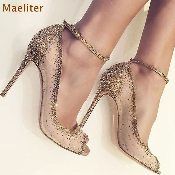 2018 Spring Gold Crystal Shoes Bling Bling Rhinestone Dress Pumps Peep Toe Thin High Heels Mesh Diamond Wedding Shoes Dropship