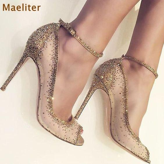 все цены на 2018 Spring Gold Crystal Shoes Bling Bling Rhinestone Dress Pumps Peep Toe Thin High Heels Mesh Diamond Wedding Shoes Dropship