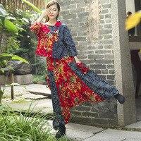 Hosen Frauen Leinen Pluderhosen Top Hosen Gesetzt Lose Baumwolle Hose Hemd Anzüge Blumen Drucken Breites Bein Keucht Lange Trainingshose