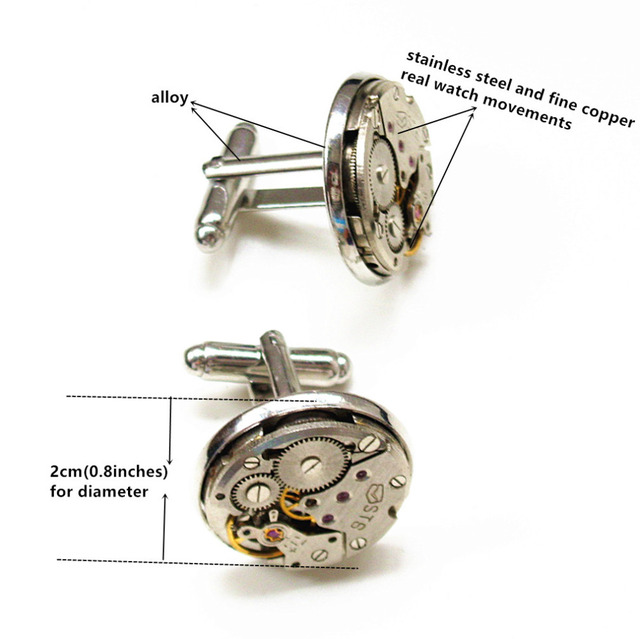 Steampunk Gothic Punk Rock Mechanical Watch Movement Shirt Cufflinks Mens Handmade Vintage Jewelry