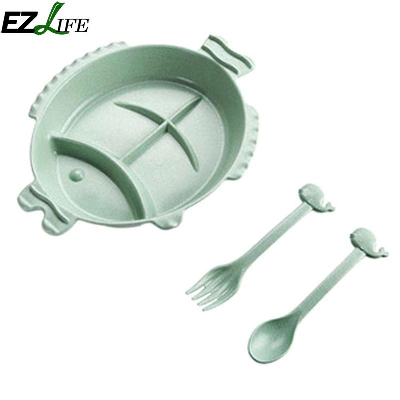EZLIFE Creative Fish Shape Kids Table Grain Straw Plate Lovely Knife Fork Plate Dish Dinnerware Sets Flatware Set CFC4433