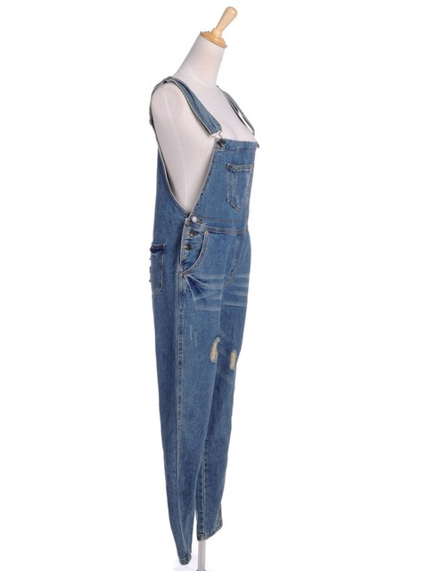 2016 New Women Denim Jumpsuit Pants Overalls Blue Suspender Ripped Distrressed Jeans Trousers Pants Overall