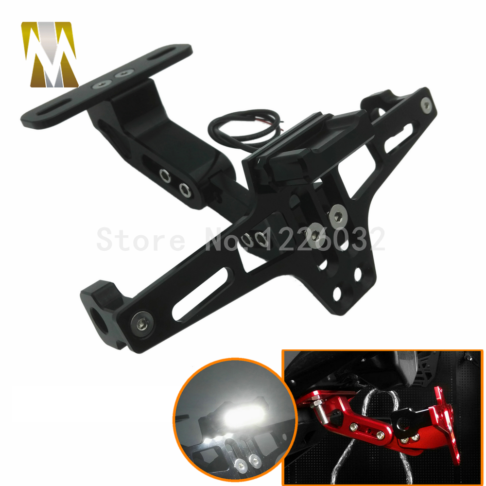 Motorcycle Parts Universal motorbike Adjustable Angle Aluminum License Number Plate Frame Holder Bracket For Honda Yamaha universal motorcycle adjustable angle aluminum license number plate frame holder bracket for ktm duke 200 390 sx f exc f 85 sx