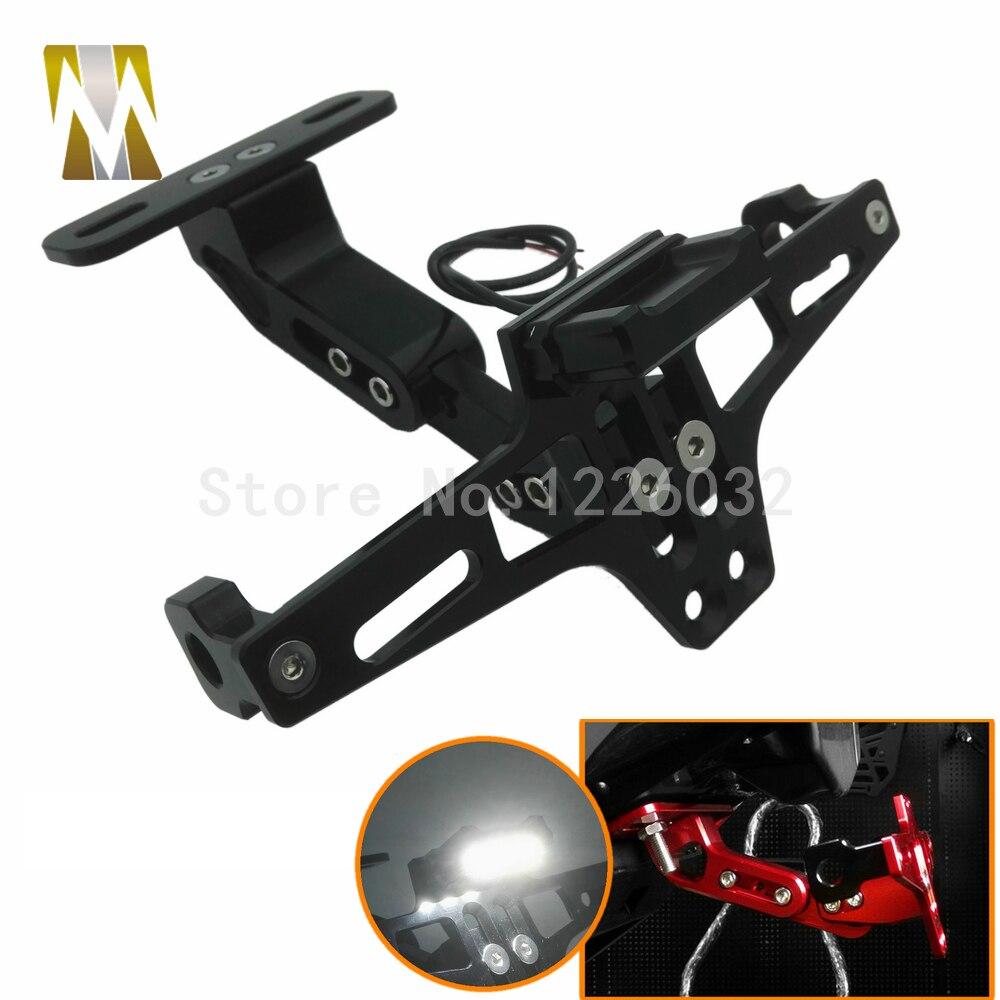 Motorcycle Parts Universal motorbike Adjustable Angle Aluminum License Number Plate Frame Holder Bracket For Honda Yamaha