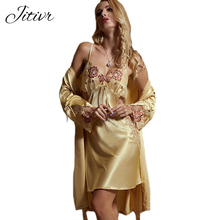 2017 New Spring Women s Clothing Sexy Faux Silk Solid Floral V Neck Set of Robe