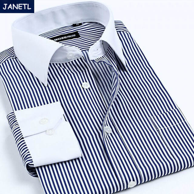Brand Men Shirt Striped Casual Long Sleeve Shirt Men Work Wear Brand Camisa Masculina Men Clothes Shirts New 2017