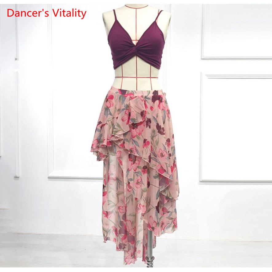 Sexy Sling Chiffon Skirt Belly Dance Performance Clothes 2019 New Suit Women Adult Oriental Dance Clothes Suit