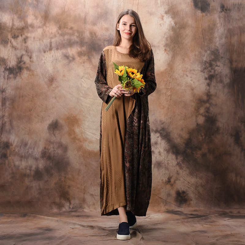 Johnature Patchwork Dress Jacquard Women Spring Casual 2019 New Long Sleeve Dress Vintage Original Women Clothing