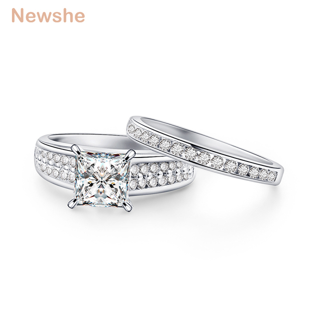 Newshe Cathedral Style Wedding Ring Sets Classic Jewelry 2 8 Ct