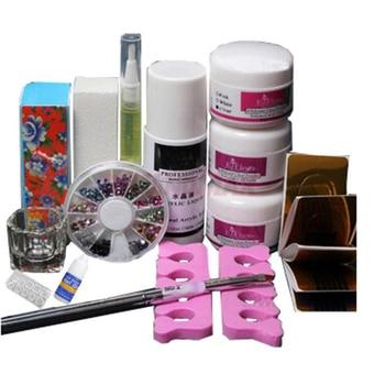 New Basic DIY Set Acryic Powder Nail Art Decorations Kit Brush Cuticle Revitalizer Oil Pen Tools Nail Tips Glue 3D Mold Acrylic Nail Art Kits