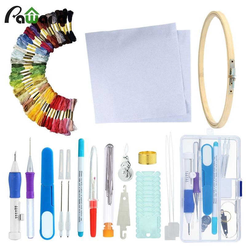 Juego de agujas mágicas de puntadas bordadas, juego de bolígrafos para manualidades DIY, juego de costura, patrones de bordado con funda